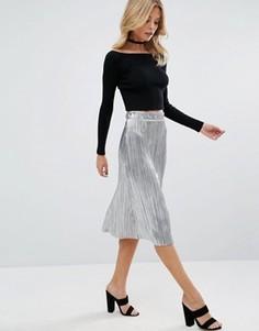 Плиссированная юбка миди с оттенком металлик First & I - Серебряный