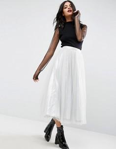 Тюлевая юбка миди с подкладкой цвета металлик ASOS - Серебряный