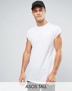 Длинная футболка с короткими рукавами и асимметричным подолом ASOS TALL - Белый
