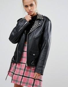 Кожаная oversize-куртка с заклепками на воротнике The Ragged Priest - Черный
