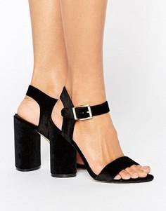 Бархатные сандалии из двух частей на блочном каблуке New Look - Черный
