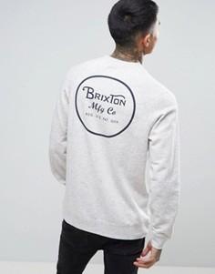 Свитшот с принтом на спине Brixton Wheeler - Серый