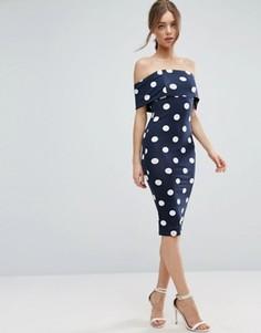 Платье миди в горошек с широким вырезом и короткими рукавами ASOS - Темно-синий
