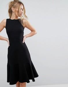 Платье миди без рукавов с баской Closet - Черный
