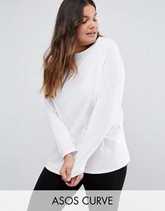 Oversize-футболка с длинными рукавами ASOS CURVE Ultimate - Белый