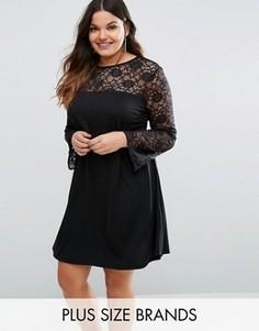 Свободное платье с кружевной вставкой Pink Clove - Черный
