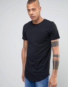 Удлиненная футболка с карманом и асимметричным краем Produkt - Черный