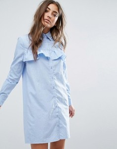 Платье-рубашка с оборками спереди Boohoo - Синий