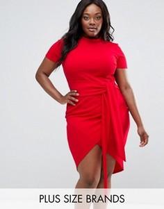 Платье размера плюс с ремнем Club L Office - Красный