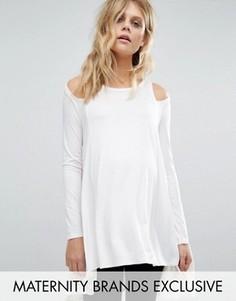 Трикотажный лонгслив для беременных с вырезами на плечах Bluebelle Maternity - Белый