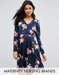 Двухслойное платье для беременных и кормящих мам Bluebelle Maternity - Темно-синий