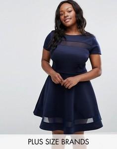 Короткое приталенное платье размера плюс с сетчатыми вставками Club L Office - Темно-синий