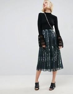 Плиссированная юбка миди со звериным принтом ASOS - Мульти