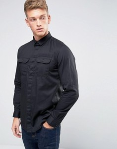 Узкая рубашка с карманами в стиле милитари и отделкой Jack & Jones Core - Черный