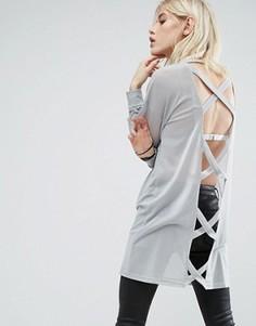 Oversize-джемпер с перекрестными лямками на спине Story Of Lola - Серый