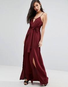 Платье макси на одно плечо с высоким разрезом Stylestalker - Фиолетовый