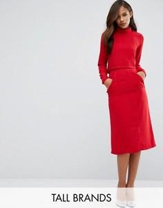 Юбка-карандаш миди с завышенной талией и карманами Re:Dream Tall - Красный