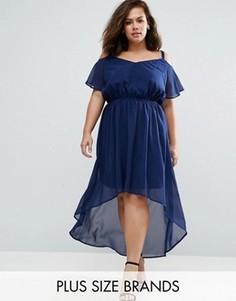 Платье с удлиненным краем и открытыми плечами Praslin Plus - Темно-синий