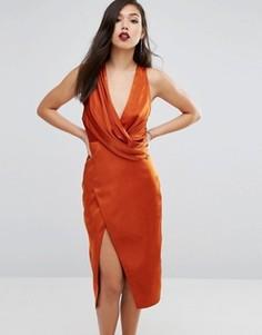 Платье миди со свободным воротом Stylestalker - Оранжевый