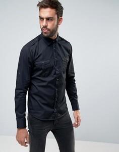 Узкая рубашка в стиле милитари BOSS Orange by Hugo Boss - Черный