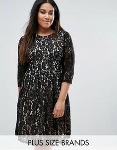 Кружевное приталенное платье Praslin Plus - Черный