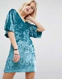Бархатное платье-кимоно с запахом спереди Story Of Lola - Зеленый