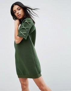 Платье из неопрена с рукавами на шнуровке Story Of Lola - Зеленый