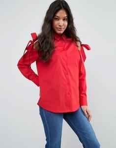 Хлопковая рубашка с вырезами и завязками на плечах ASOS - Красный