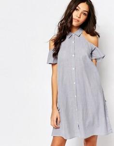 Расклешенное платье-рубашка с открытыми плечами Influence - Синий
