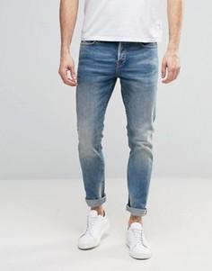 Голубые стретчевые джинсы слим с выбеленным эффектом Only & Sons - Синий