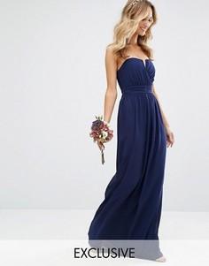 Платье-бандо макси TFNC WEDDING - Темно-синий