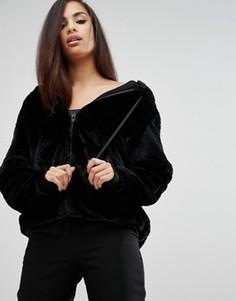Худи из искусственного меха Kendall + Kylie - Черный