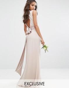Платье макси с высокой горловиной и бантиком сзади TFNC WEDDING - Розовый
