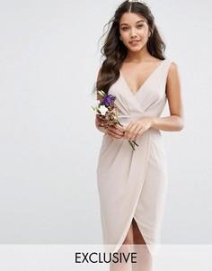 Платье миди с запахом и бантиком сзади TFNC WEDDING - Розовый