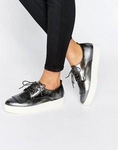 Кроссовки на шнуровке с бахромой Dune Emmy - Серебряный