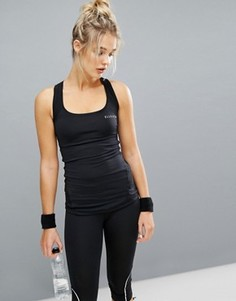 Поддерживающая спортивная майка с сетчатой вставкой Elle Sport - Черный