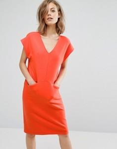 Цельнокройное платье миди с V-образным вырезом Traffic People - Красный