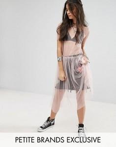 Прозрачное сетчатое платье миди Glamorous Petite - Розовый