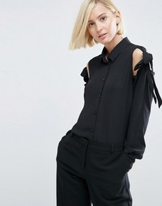 Блузка с завязками и открытыми плечами ASOS - Черный
