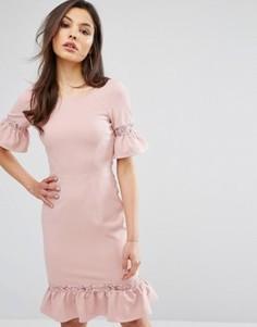 Платье с баской и кружевными вставками Paper Dolls - Розовый
