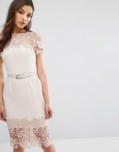 Платье миди с короткими рукавами и кружевной отделкой Paper Dolls - Розовый