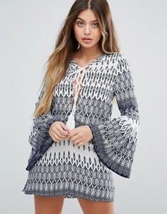 Платье с ацтекским принтом и рукавами-колокол Unique 21 - Мульти