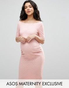 Кружевное платье с открытыми плечами и укороченными рукавами ASOS Maternity - Розовый