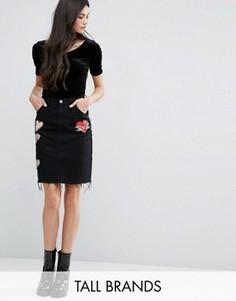Джинсовая мини-юбка с нашивками Glamorous Tall - Черный