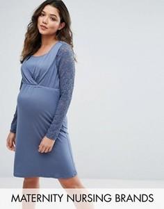 Короткое приталенное платье с кружевными рукавами Mamalicious Nursing - Синий Mama.Licious