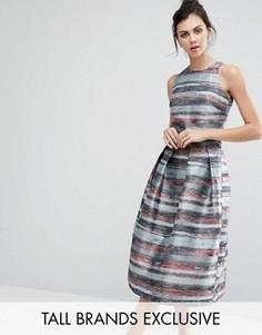 Жаккардовое платье для выпускного с пышной юбкой Little Mistress Tall - Мульти