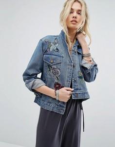 Джинсовая куртка с вышивкой Honey Punch - Синий