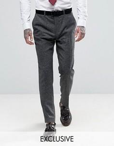 Укороченные зауженные брюки из твида с шевронным узором Heart & Dagger - Серый
