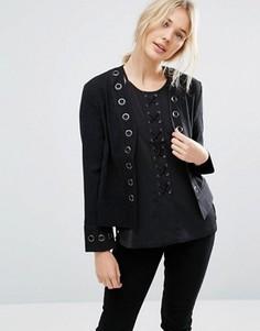 Пиджак с люверсами Neon Rose - Черный