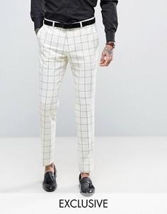 Шерстяные зауженные брюки в клетку Heart & Dagger - Белый
